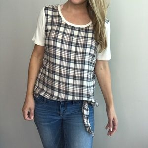 NWOT Michael Stars plaid front tie top sz S